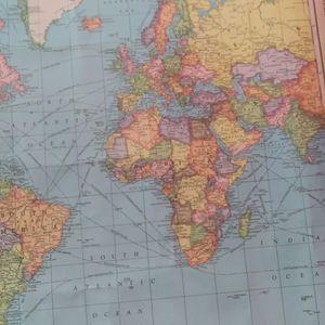 World wall map Sz approx 60x36 $28+ free hat Free